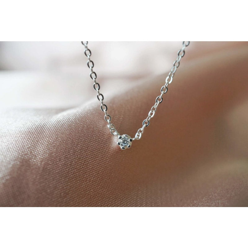 Silver Dainty Diamond Choker Necklace - dilutee.com