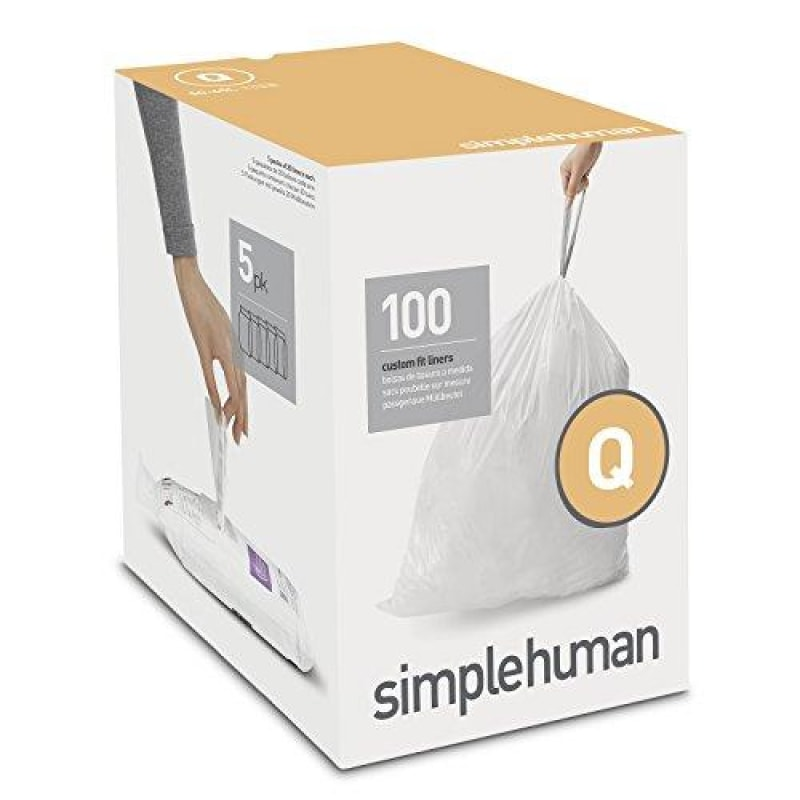 simplehuman Code Q Custom Fit Drawstring Trash Bags 50 - 65 Liter / 13-17 Gallon 100-Count Box - dilutee.com