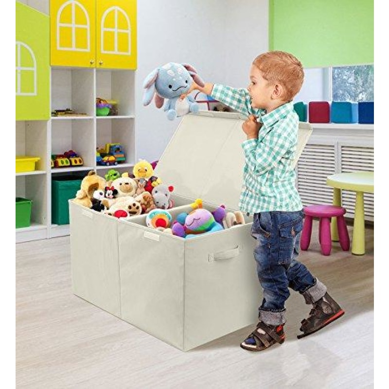 Sorbus Toy Chest with Flip-Top Lid Kids Collapsible Storage for Nursery Playroom Closet Home Organization Large (Beige) - dilutee.com