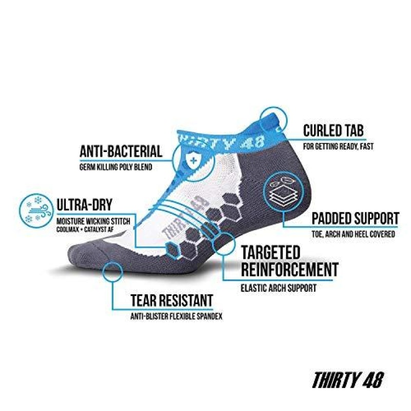 Thirty 48 Running Socks for Men and Women Features Coolmax Fabric That Keeps Feet Cool & Dry - 1 Pair or 3 Pair ([3 Pairs] Orange/Gray Large