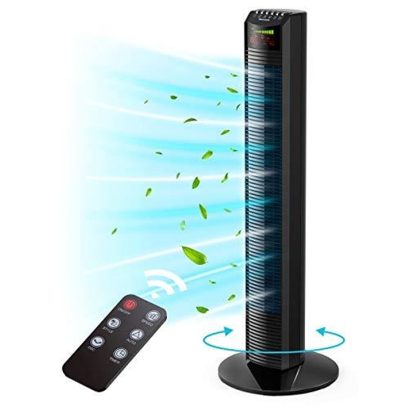 Tower Fan Homech Whole Room Wind Curve Auto Oscillating Tower Fan with Remote Quiet Cooling 3 Modes 3 Speeds up to 12H Timer LED Display