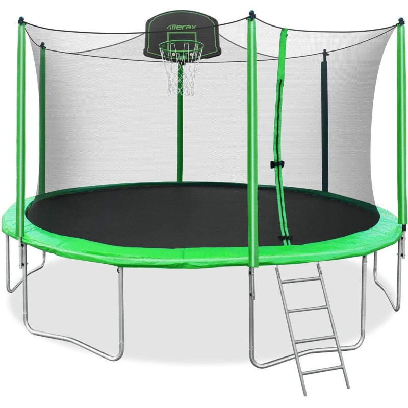 Trampoline With Basketball Goal