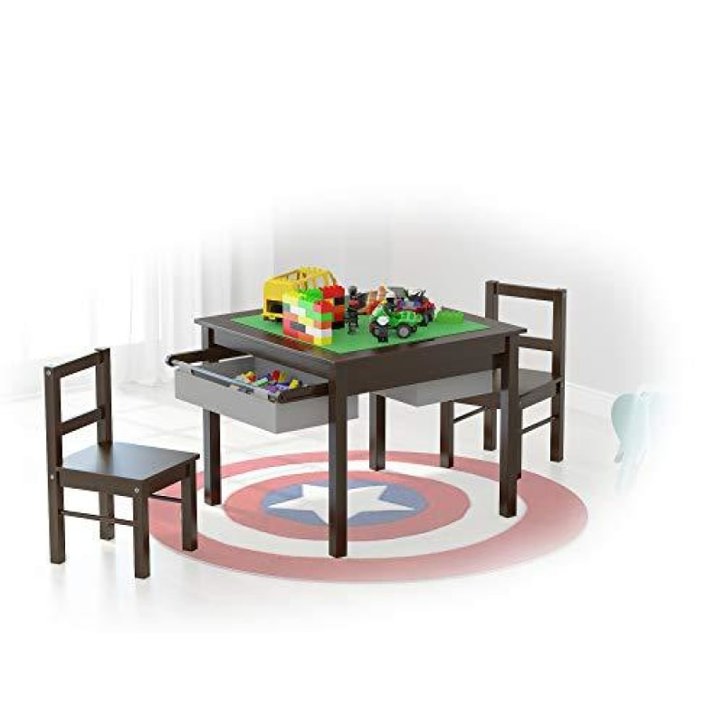 UTEX 2-in-1 Kids Multi Activity Table and 2 Chairs Set with Storage (Espresso with Gray Drawer) - dilutee.com