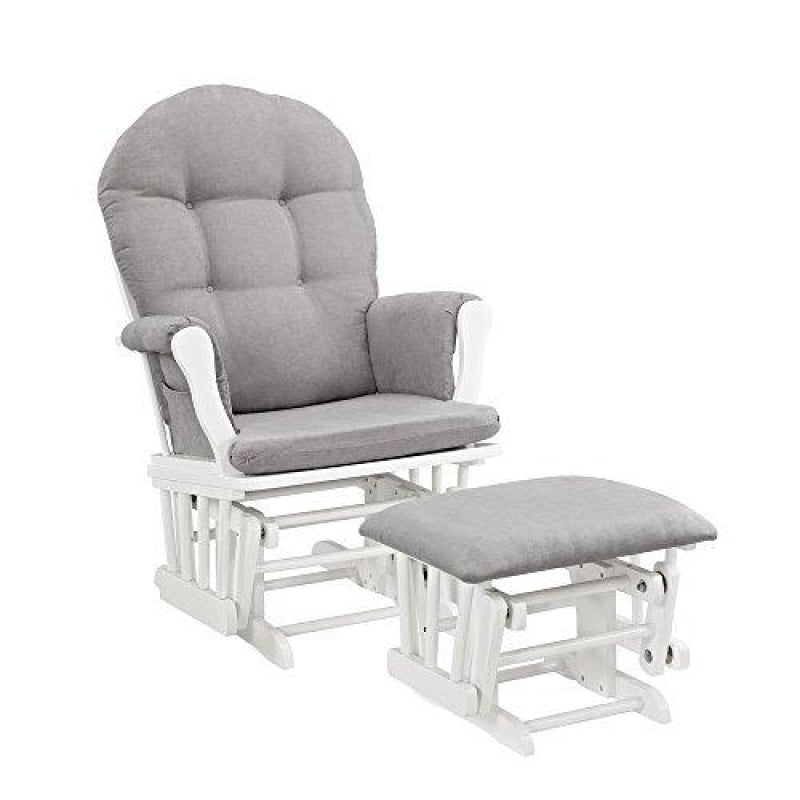 Windsor Glider and Ottoman White with Gray Cushion - dilutee.com