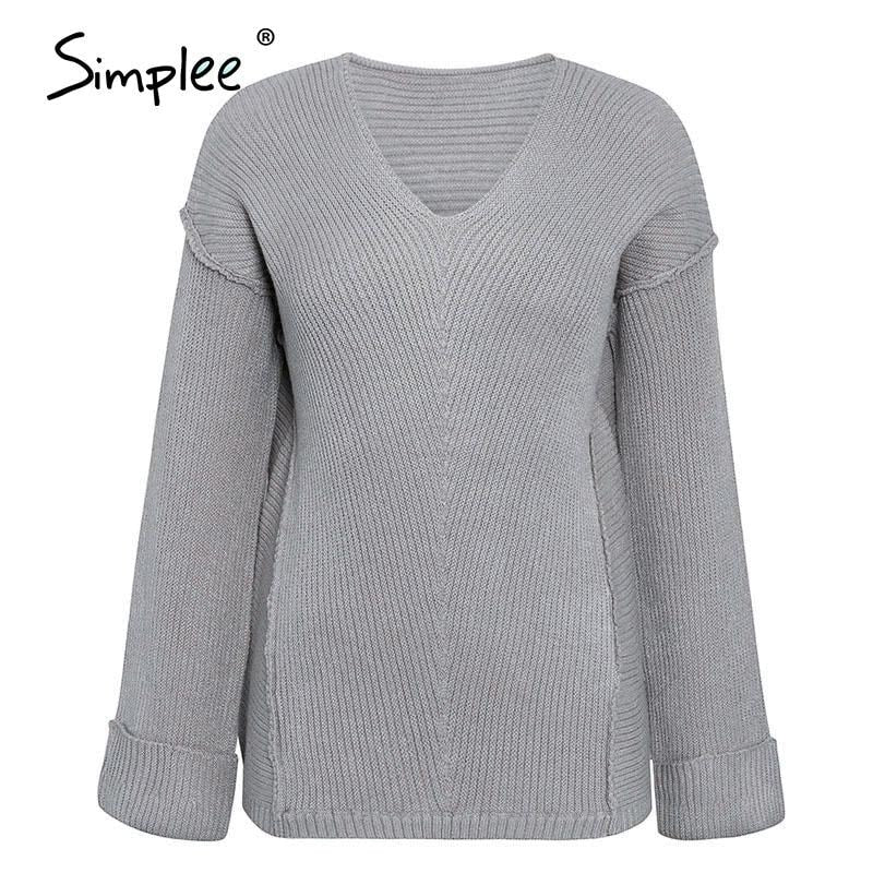 Women's Sweaters V Neck - dilutee.com