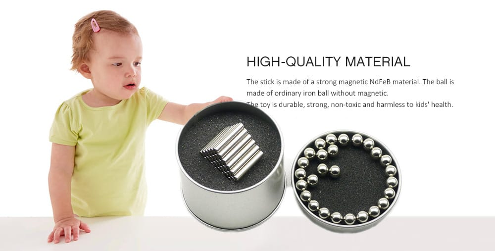 Buck Magnetic Bar Set of Iron Boxed Educational Toys with Metal Magnet Blocks 36 Rods 27 Balls