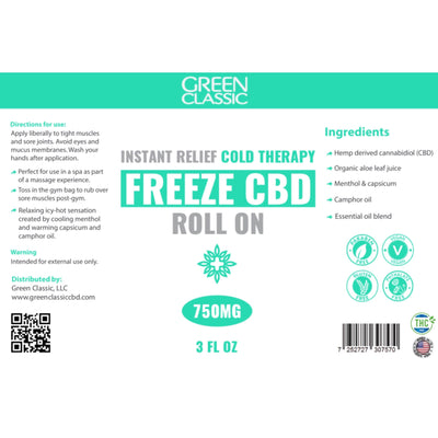 Green Classic Freeze CBD Roll On Topical // 750mg - Green Classic