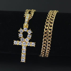 Iced Out Cross Pendant Tennis Chain - Egyptian Key Of Life Necklace