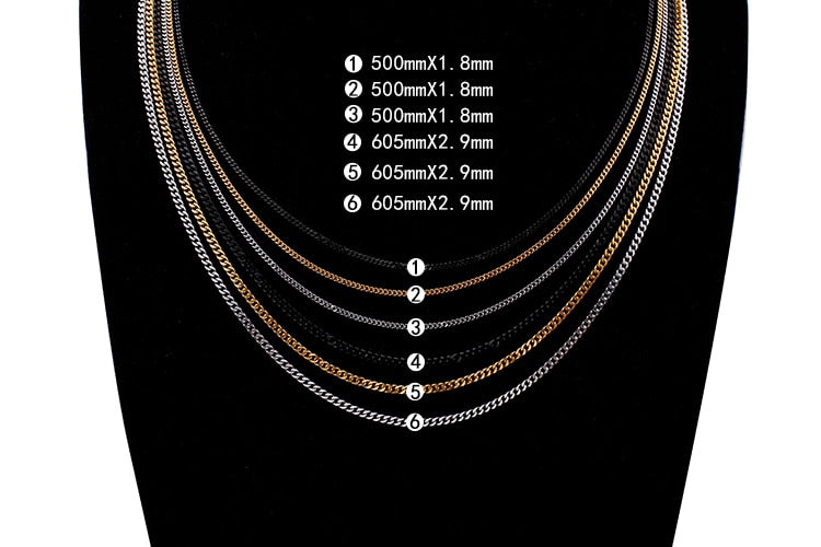 Mini Cuban Chains Necklace (2/3mm Gold/Silver/Black)