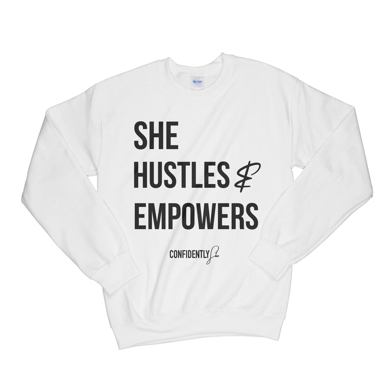 She Hustles Crewneck White