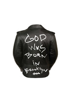 Load image into Gallery viewer, GOD WAS BORN IN BROOKLYN™ BIKER GENUINE LADIES LEATHER JACKET