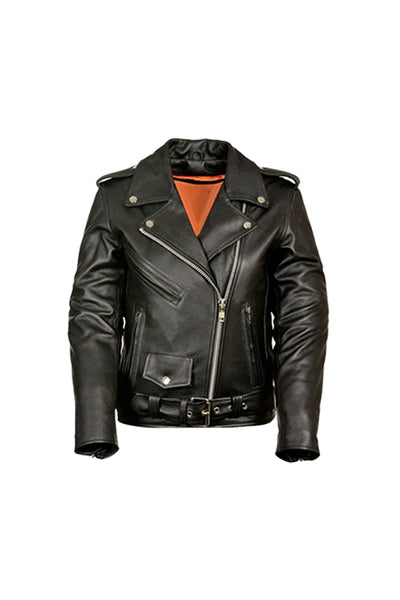 GOD WAS BORN IN BROOKLYN™ BIKER GENUINE LADIES LEATHER JACKET
