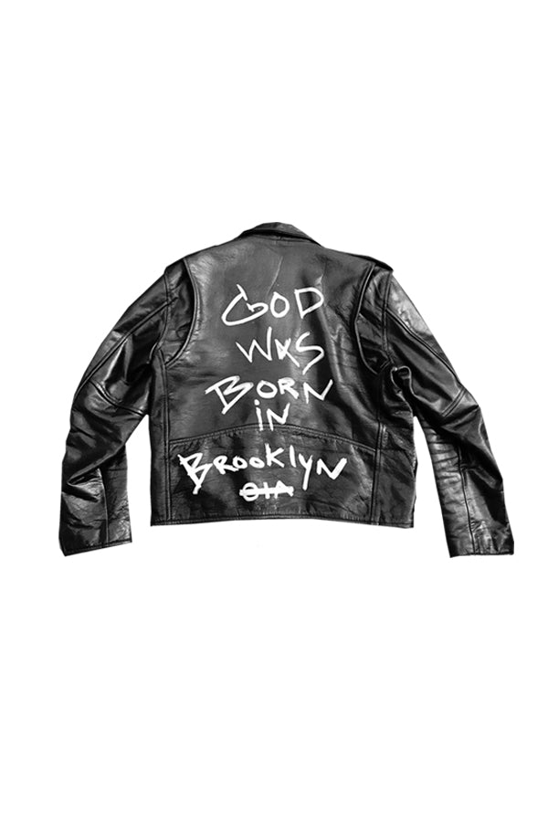 CUSTOM GOD WAS BORN IN BROOKLYN™ BIKER GENUINE LEATHER JACKET