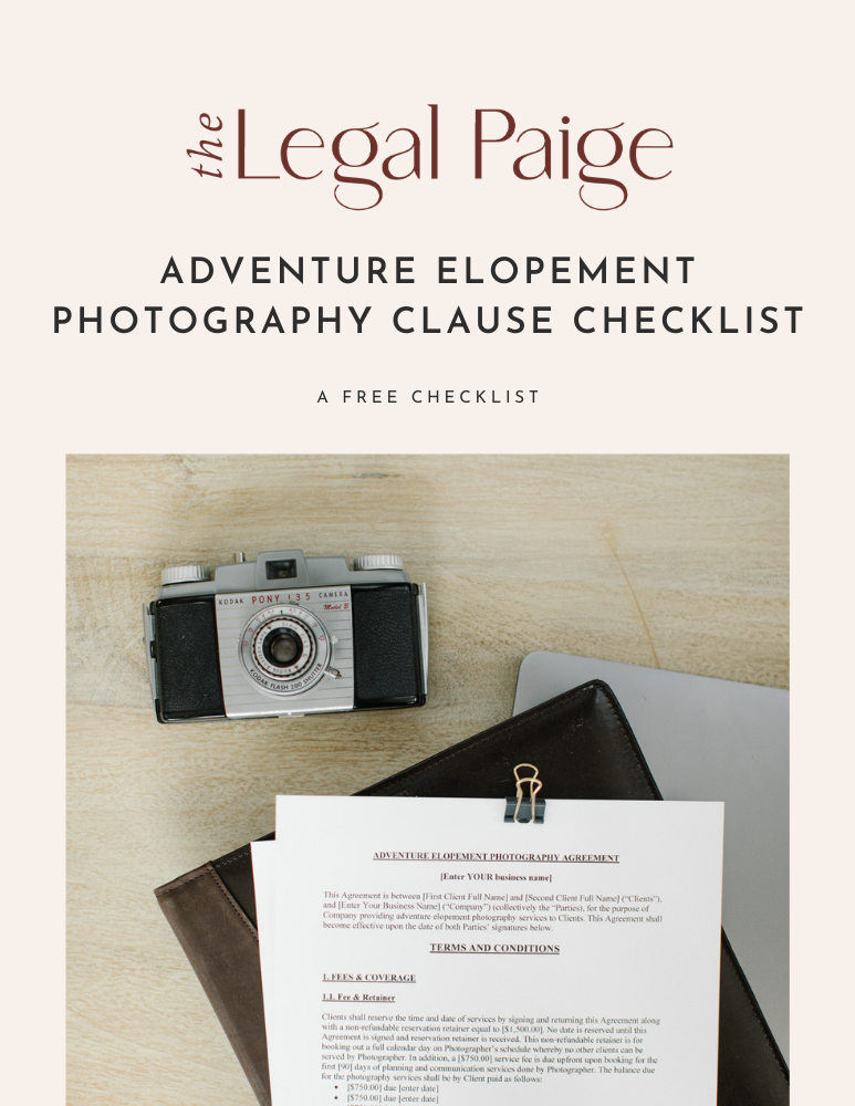 Free Adventure Elopement Photography Clause Checklist