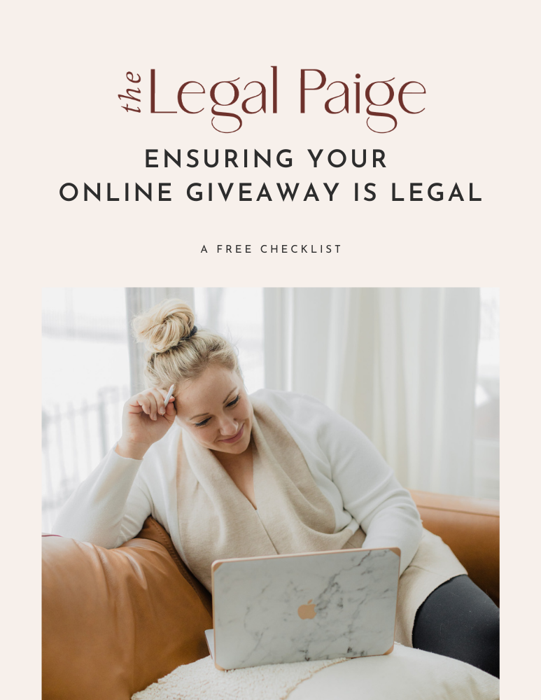 The Legal Paige - Free Online Giveaway Checklist