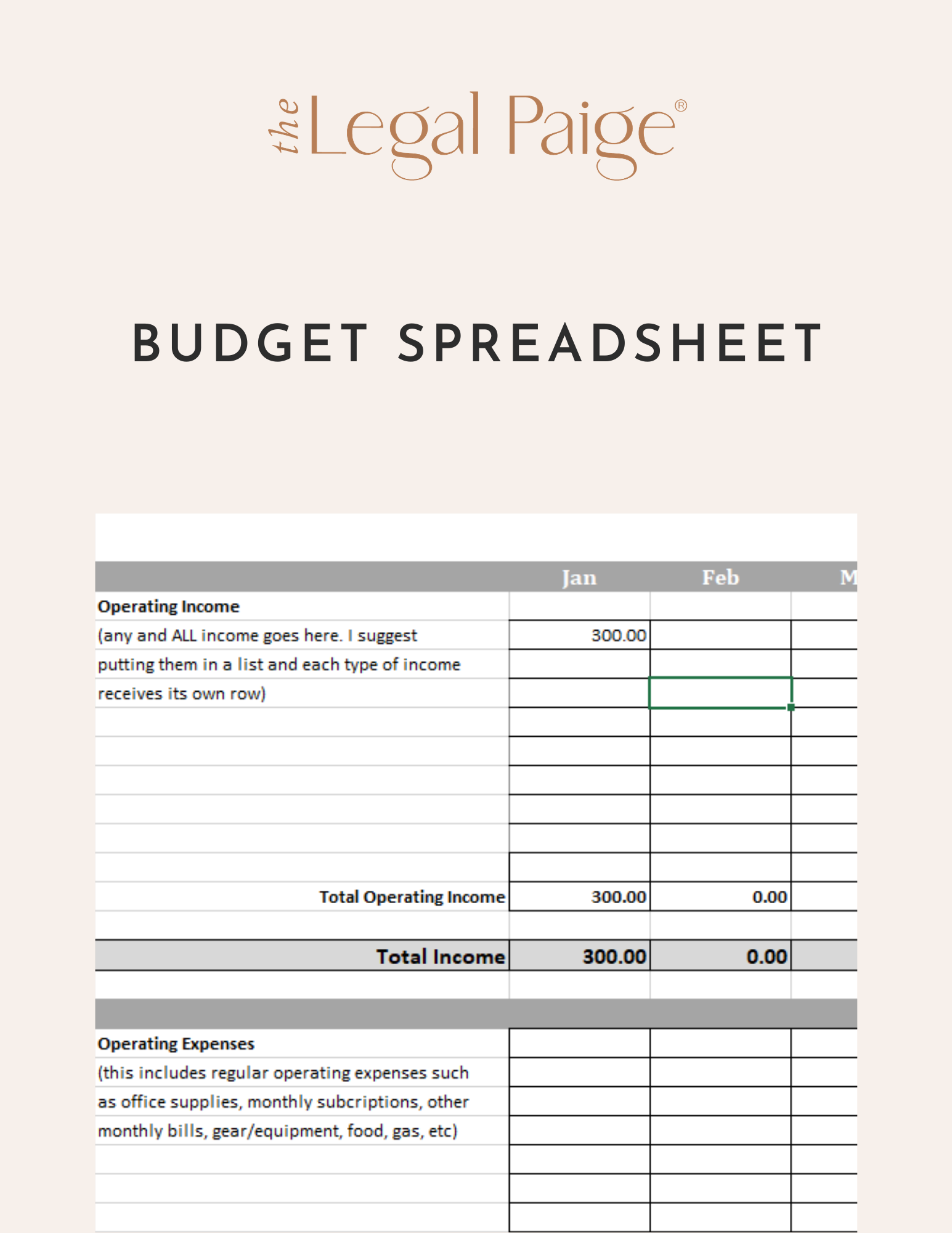 The Legal Paige - Free Download Budget Spreadsheet