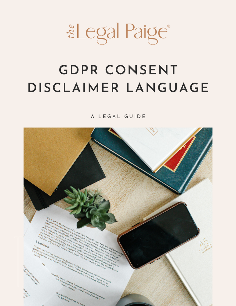 The Legal Paige - Free Download GDPR Consent Disclaimer Language Guide