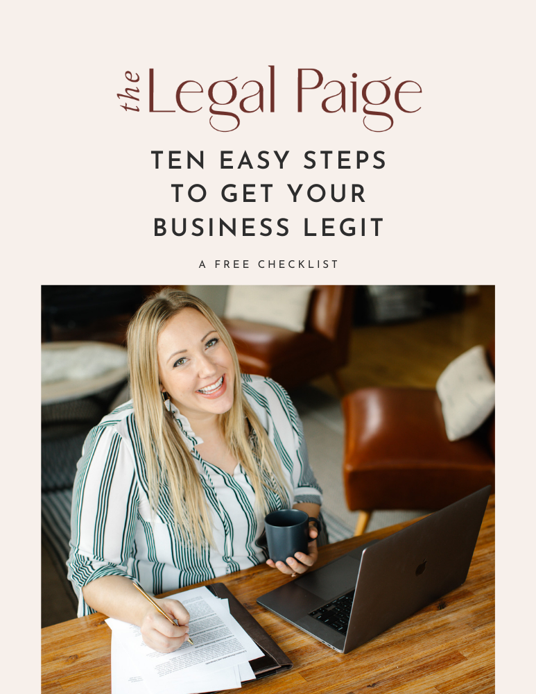 The Legal Paige - Free 10 Steps to Set Up a Legal Business Checklist