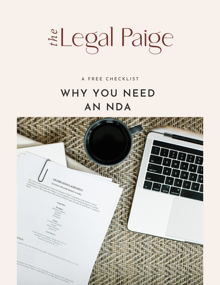 The Legal Paige - Free Why You Need an NDA Checklist
