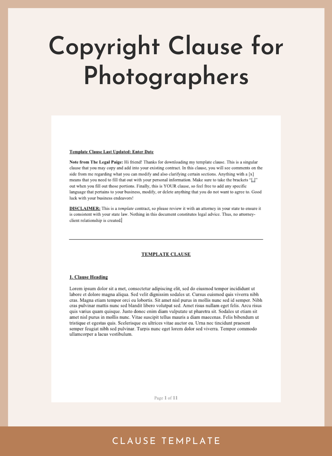 Copyright Clause For Photographers
