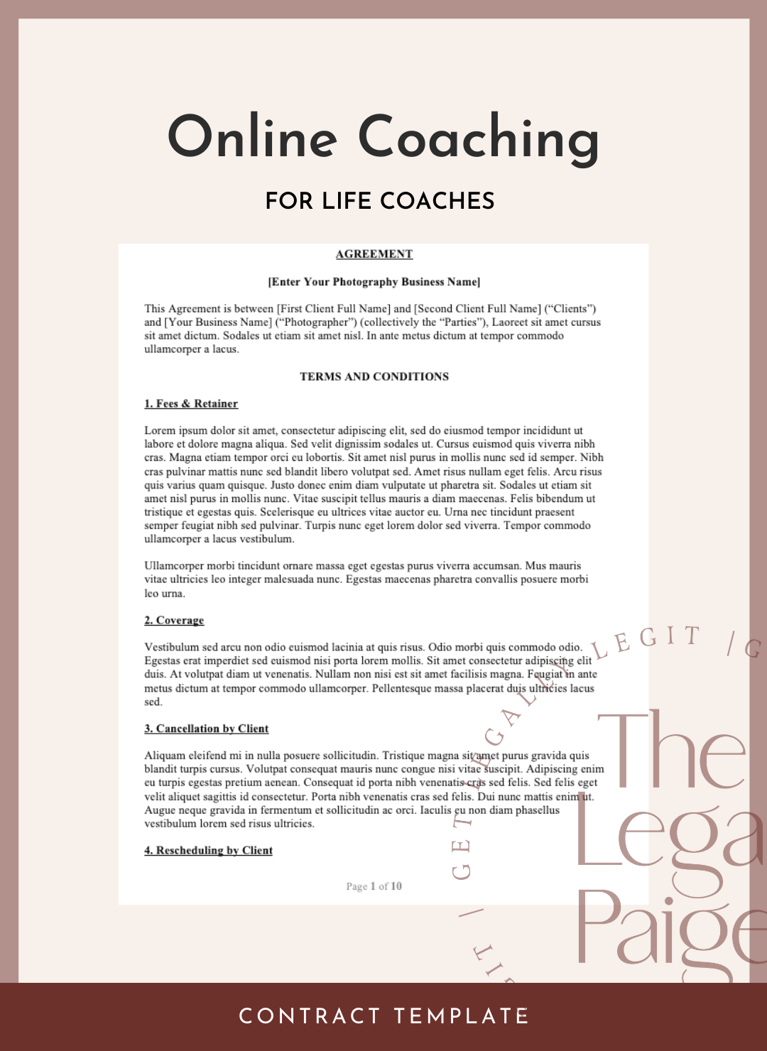 Online Coaching Contract for Life Coaches