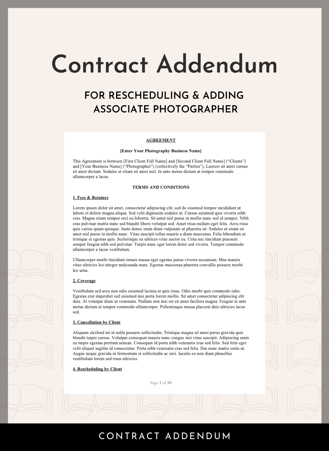 Photography Contract Addendum for Rescheduling and Adding Associate Photographer