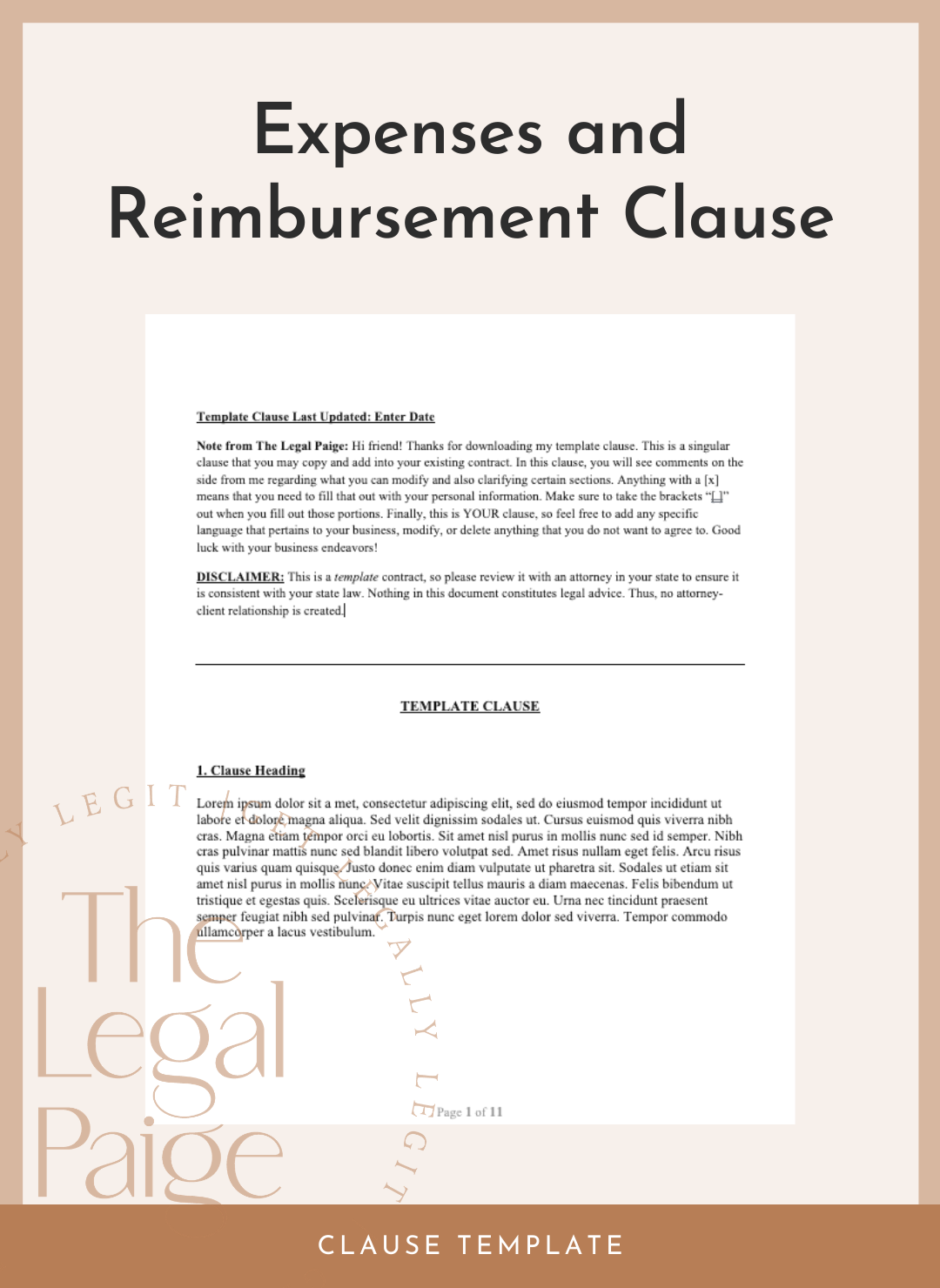 Expenses and Reimbursement Clause