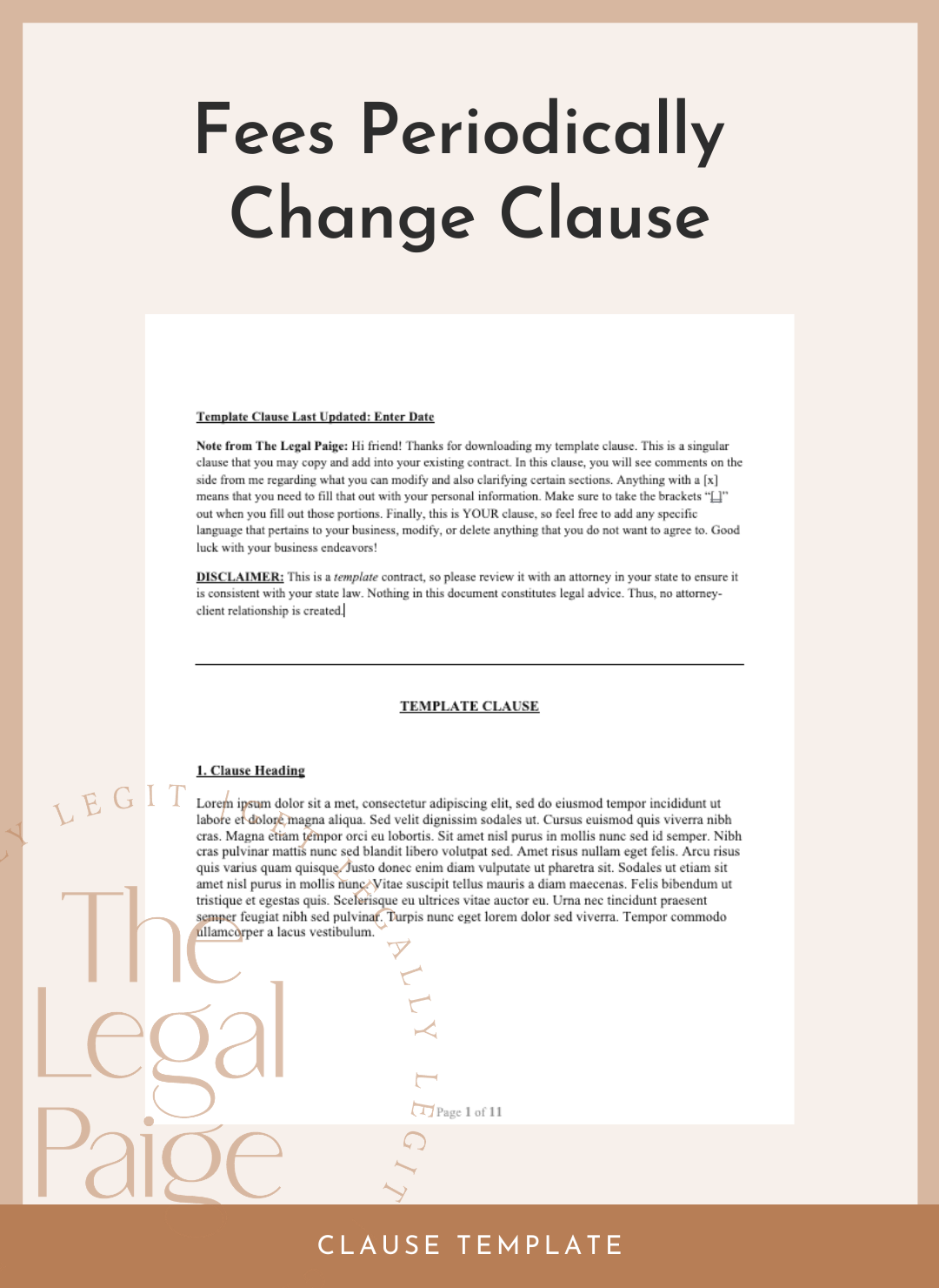 Fees Periodically Change Clause