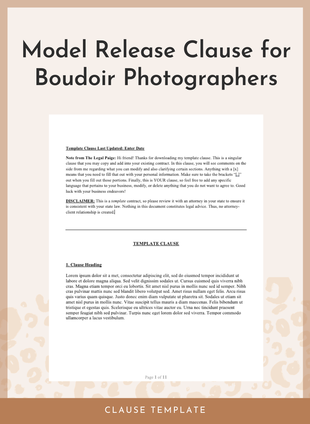 Model Release Clause for Boudoir Photographers