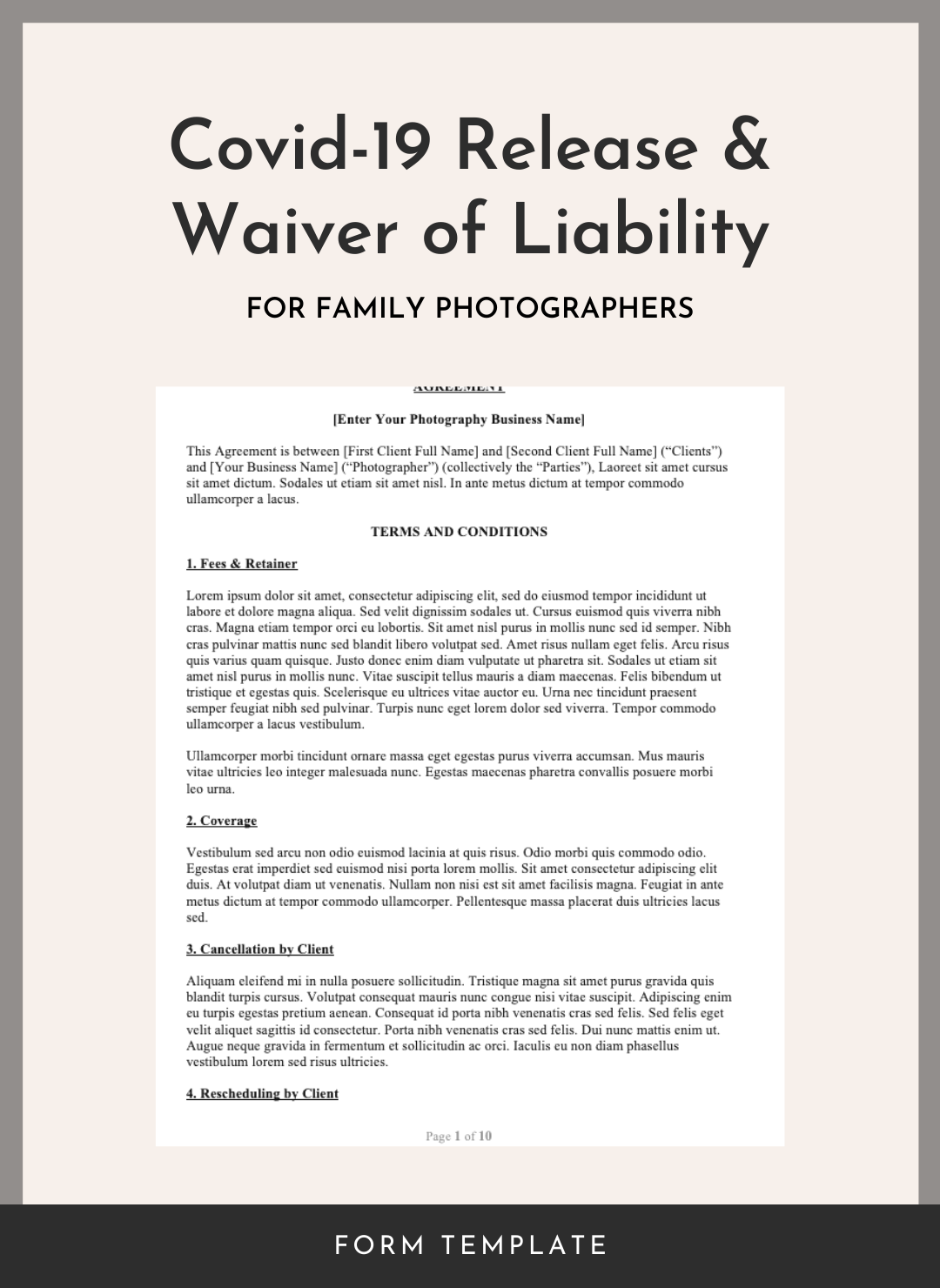 Covid-19 Release and Waiver of Liability for Family Photographers