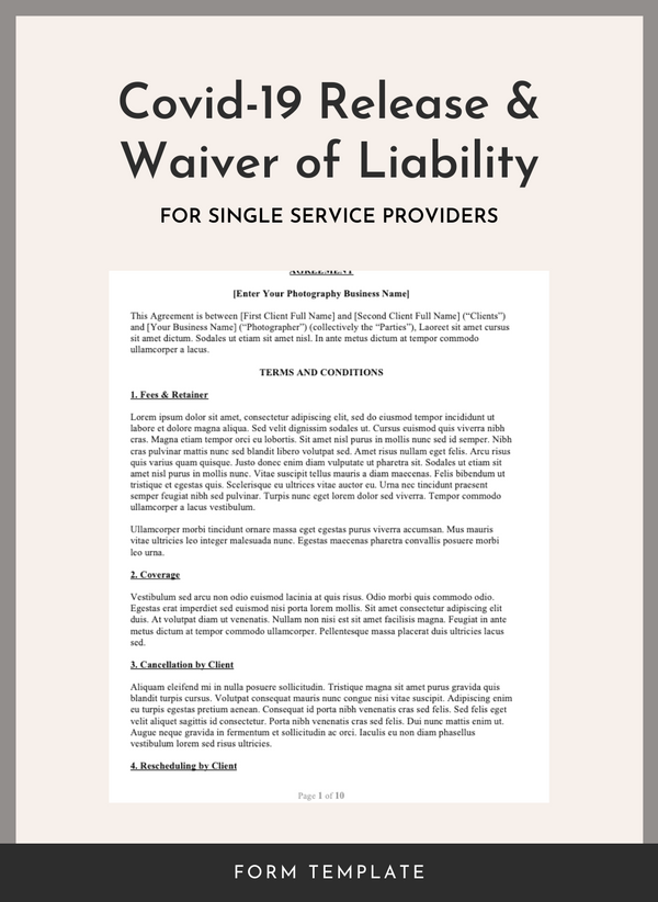 Covid 19 Release And Waiver Of Liability For Single Service Businesses The Legal Paige