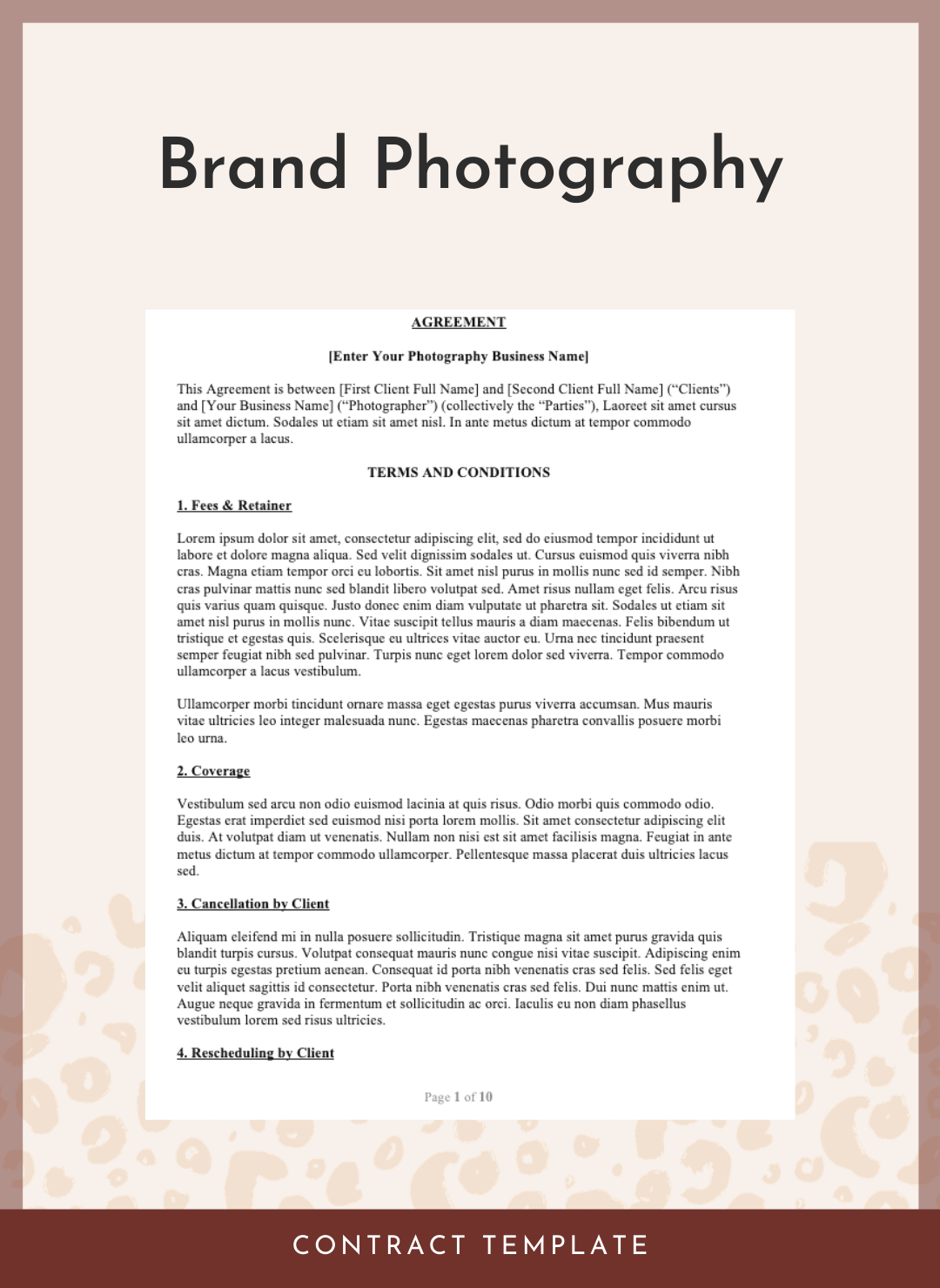 Brand & Commercial Photography Contract
