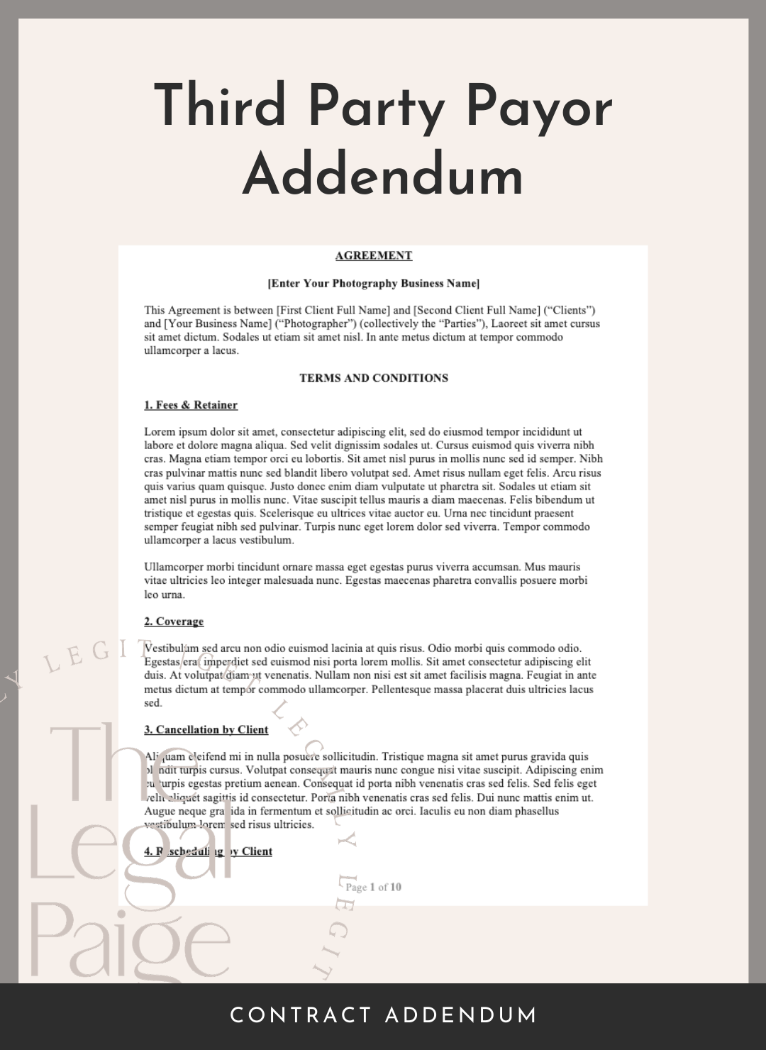 Third Party Payor Addendum