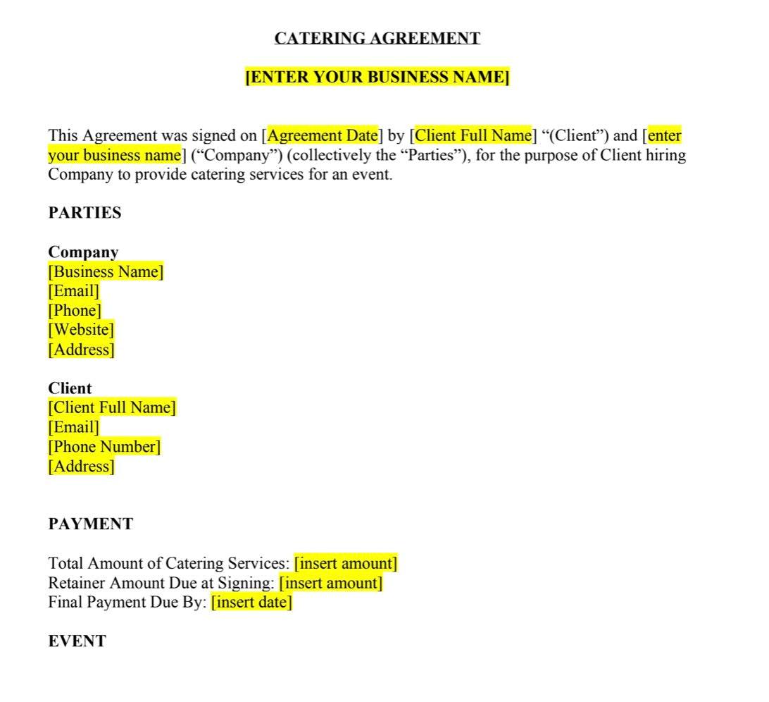Catering Contract