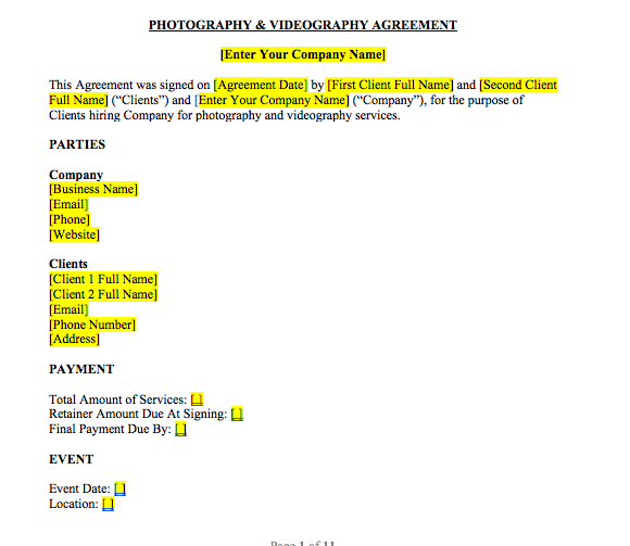 Photography & Videography Contract