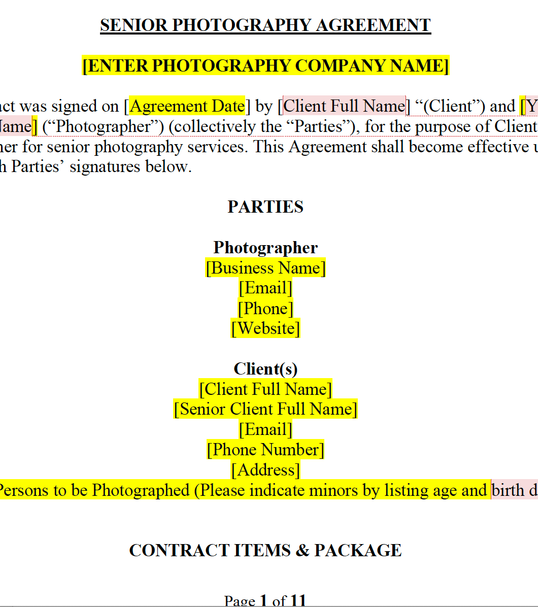 Senior Photography Contract