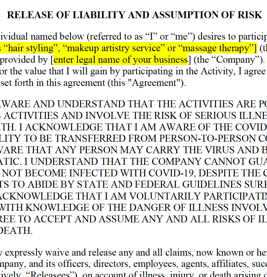 Covid-19 Release and Waiver of Liability for Single Service Businesses
