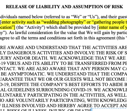 Covid-19 Release and Waiver of Liability for Wedding and Event Pros