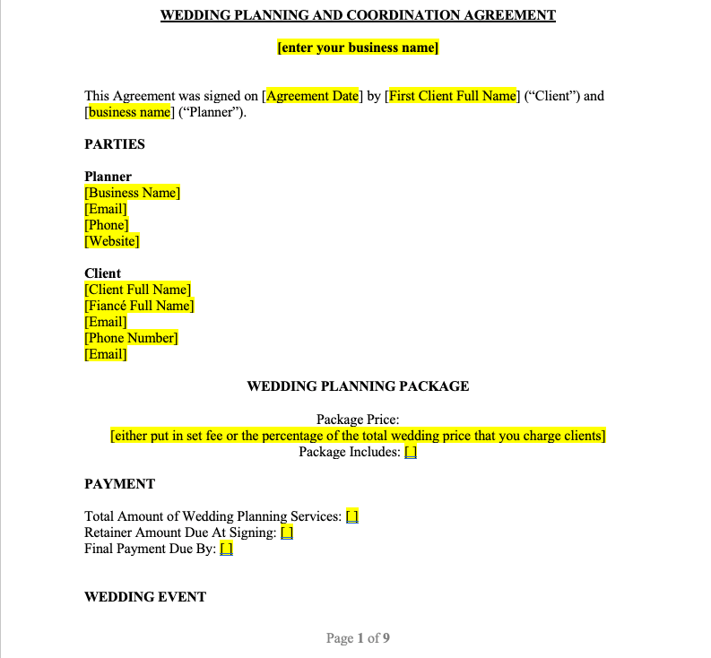 Wedding Planning Contract