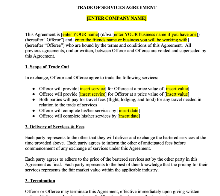 Trade of Services Contract