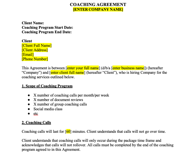 Online Coaching Contract for Health Coaches