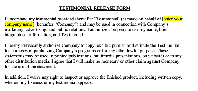 Testimonial Release Form