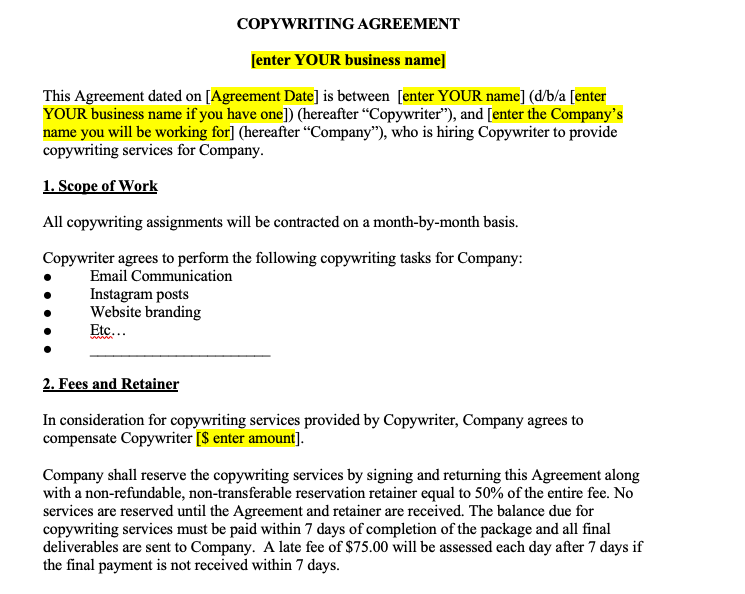 Copywriting Contract