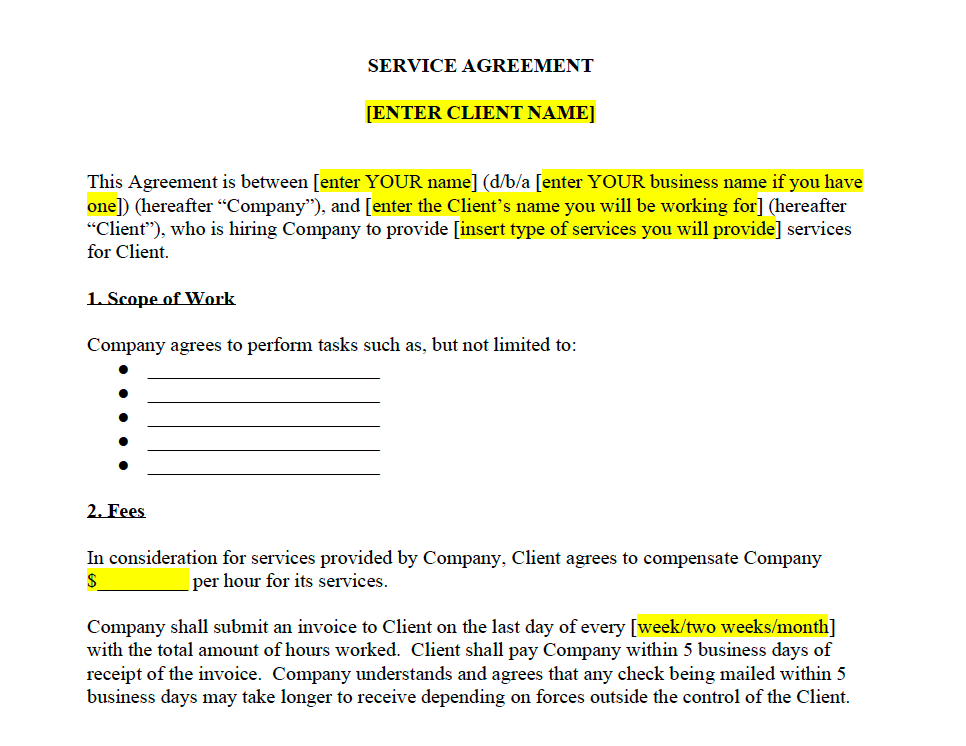 General Service Agreement