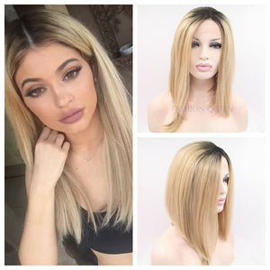 Bombshell Long Bob Sleek Ombre Blonde Synthetic Eldee Mink