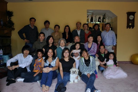 The Pham clan gathered for Tết.~RIGHT