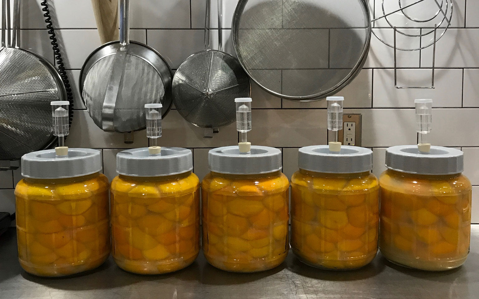 Preserved Meyer lemons in the Acater & Oliter kitchen. Curran cures his lemons for up to four months before blending them into a paste. | Photo: Ryan Curran~WHOLE