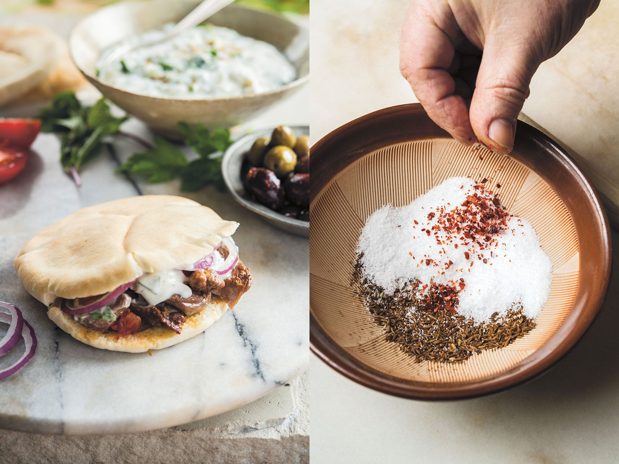 Cumin lamb pitas and cumin salt, ready for grinding in a suribachi. | Photos and lead image: Evan Sung~WHOLE