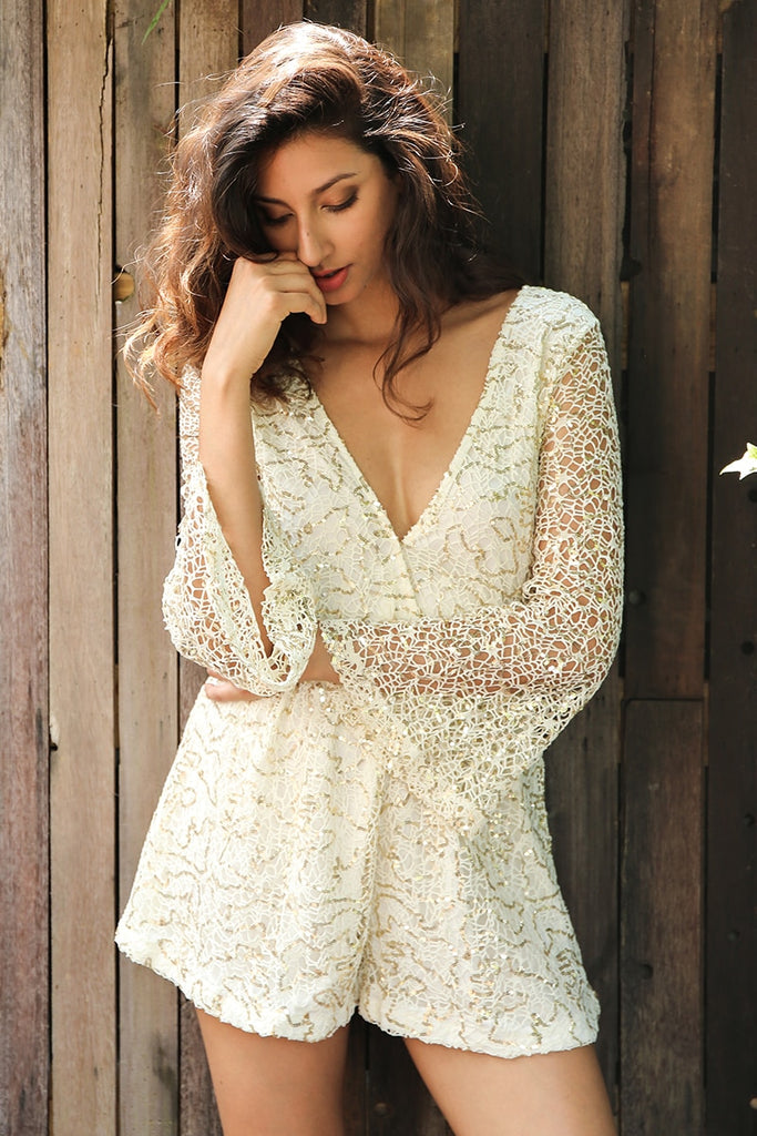 6f1345be91ae Lace Gold Sequin Deep V Neck Long Sleeve Romper Playsuit – TLC Couture