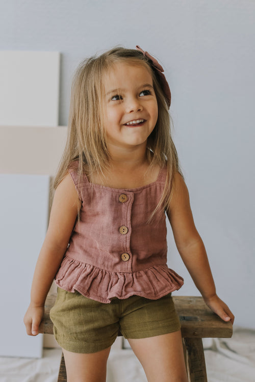 Organic Cotton Muslin Indie Singlet - Tuscany